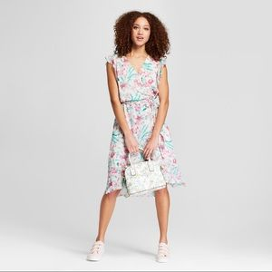 👗A New Day Floral Print Short Sleeve Ruffle Wrap
